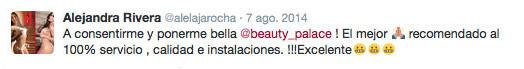 testimonio de buen servicio de Beauty Palace de Alejandra Rivera